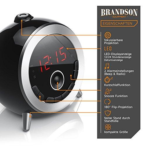 Brandson – Retro Projektionswecker schwarz silber - 3