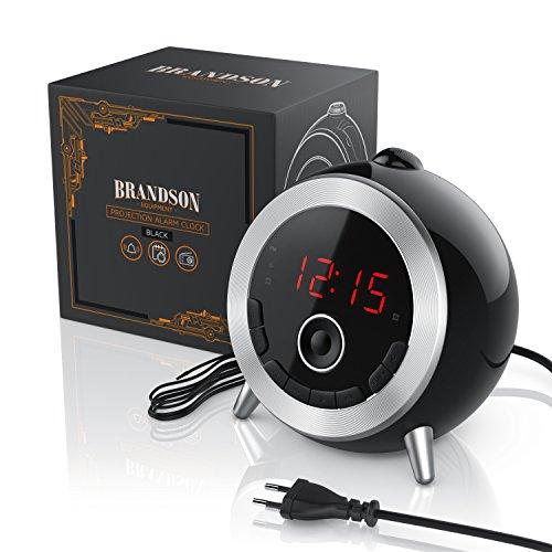 Brandson – Retro Projektionswecker schwarz silber - 4